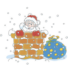 santa with gifts in a chimney vector image
