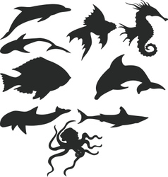 Sea animals silhouettes vector