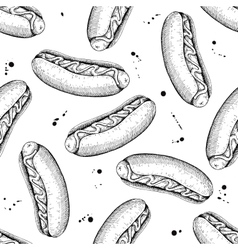 Seamless vintage hot dog pattern Hand vector