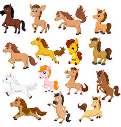 set cute cartoon horse isolated on a white back vector image