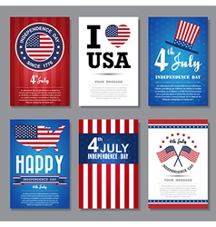 Set greeting card independent day vector