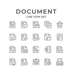 Set line icons document vector