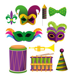 set mardi gras decoration accessories to festval vector image