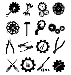 Settings tools icons set vector