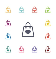 shopping bag flat icons set vector image