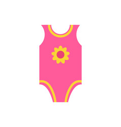 Short sleeves pink jumpsuit romper yellow flower vector