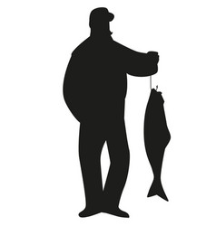 Silhouette fisherman catching a salmon from a vector