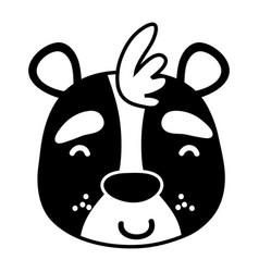 silhouette glad bear head wild animal vector image