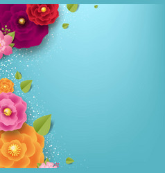 Spring sale poster with color flowers background vector