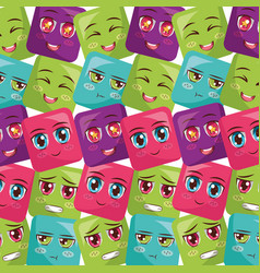 square faces anime expression vector image