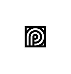 square stripes logo letter p vector image
