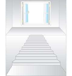 Stairway to window vector