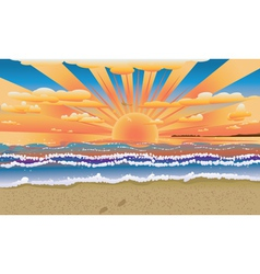 Sunset on tropical beach vector