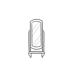 Swivel mirror on stand sketch icon vector image