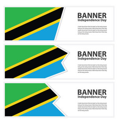 Tanzania flag banners collection independence day vector