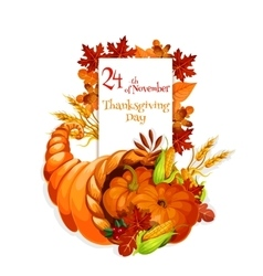 Thanksgiving Day greeting cornucopia design vector