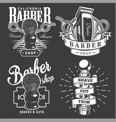 Vintage barbershop badges vector