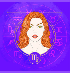 Virgo zodiac sign and portrait vector