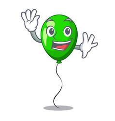 Waving green baloon on left corner mascot vector