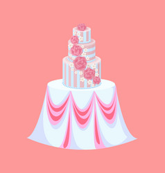 wedding cake on table with tablecloth catering vector image