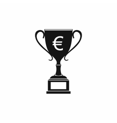 Winner cup with euro sign icon simple style vector image