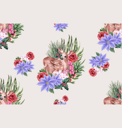 Winter bloom pattern design with deer with lower vector