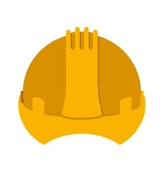 Yellow construction safety helmet icon vector