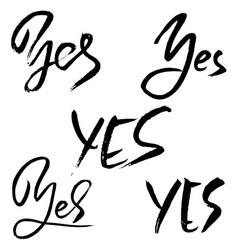 yes calligraphy handwriting set modern brush pen vector image