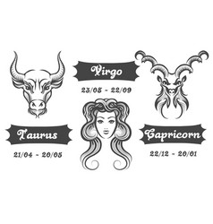 Zodiac signs of virgo taurus and capricorn vector