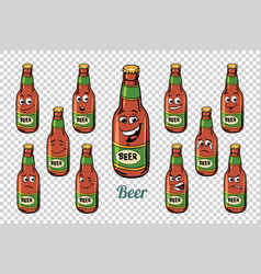 beer bottle emotions characters collection set vector image vector image