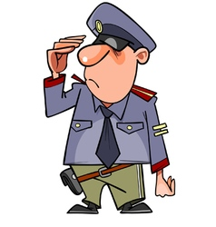 cartoon man in a police uniform salutes vector image vector image