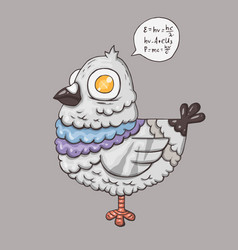 cartoon pigeon character for web and print vector image