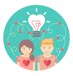 Couple in love with a light bulb in a blue circle vector image