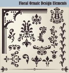 floral ornate elements vector image vector image