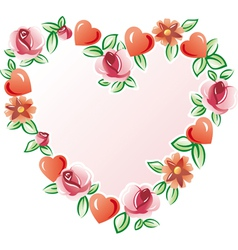 Flowers heart vector image vector image