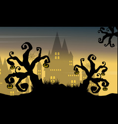 Halloween background castle and tree vector
