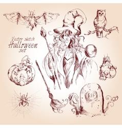 Halloween sketch set vector image vector image