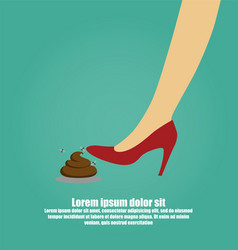 womans foot stepping into a pile of dog poop vector image
