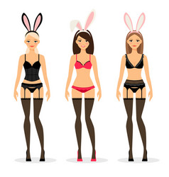 women in lingerine with bunny ears vector image