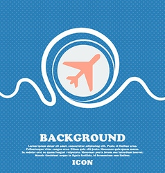 airplane sign icon Blue and white abstract vector image