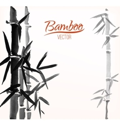Bamboo sumi-e ink painted card vector image vector image