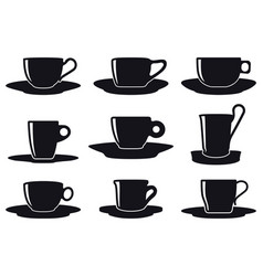 coffee cup set silhouette vector image vector image