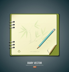 Diary green book with bamboo background vector image vector image