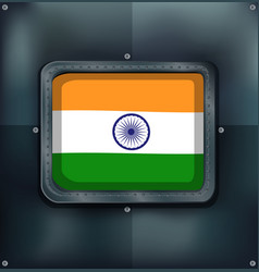 flag of india on metalic background vector image vector image