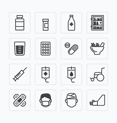 flat icons set of medical health care outline vector image vector image