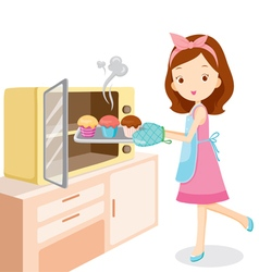 Girl Baking Cupcake vector image