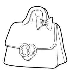 lady handbag icon outline vector image