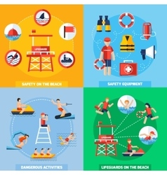 Lifeguard 4 Flat Icons Square Composition vector image