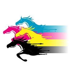 Print colors horses vector image vector image