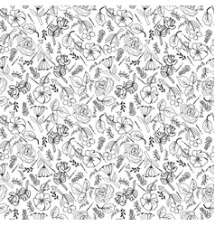 collection black and white flowers and plants in vector image vector image